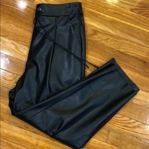 Faux leather drawstring jogger